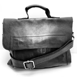 BED STU HAMPTON Black Leather Messenger Bag Purse